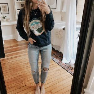 J. Crew Navy Whistler Mountains Crewneck Pullover